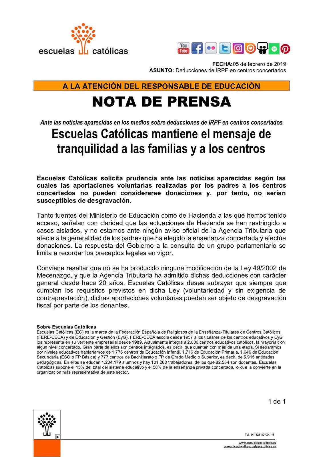 MENSAJE DE TRANQUILIDAD DE ESCUELAS CATÓLICAS A LAS FAMILIAS Y CENTROS.